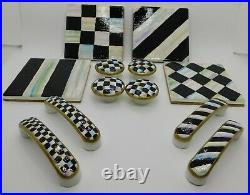 10 Hand painted drawer pulls black/white check or stripe