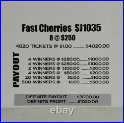 $1020 Profit! Fast Cherries Pull Tab Tickets Free 3-day Shipping