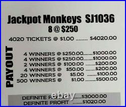 $1020 Profit! Jackpot Monkeys Pull Tab Tickets Free Shipping