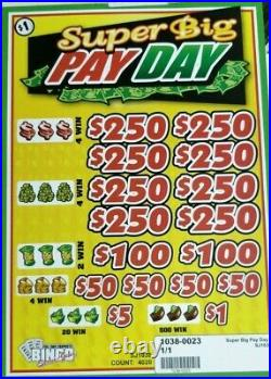 $1020 Profit! Super Big Pay Day Pull Tab Tickets 3 Day Free Shipping