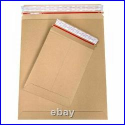 200 Pack 9 x 11 ½ Kraft Stay Flat Cardboard Mailer Pull-Tab Strip 28pt