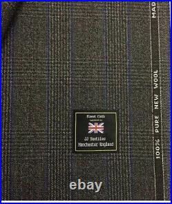 3.5 Metres Grey/Blue Check Heritage Twist Pure Wool Winter Suit Fabric. (395g)