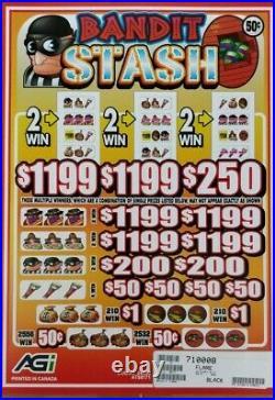 $3680 PROFIT BANDIT STASH, 5 WINDOW PULL TAB TICKETS, 24080 COUNT @. 50c