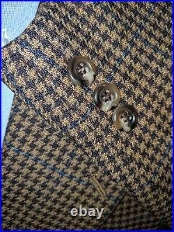 48S Blue Maroon Tooth Over Check Textured Twist WOOL Jacket Coat Blazer
