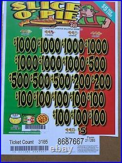 $5 Game Slice O' Pie 3 Window Pull Tab $3640 Profit Free Ship USA 48