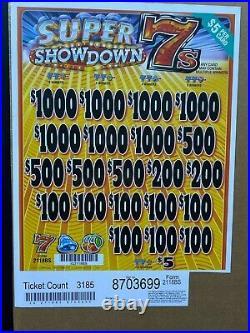 $5 Game Super Show Down 7's 3 Window Pull Tab $3640 Profit Free Ship USA 48