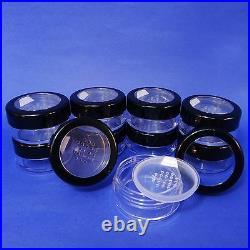 50 Pcs Pull Tab Seal Sticker Sifter Loose Powder Jar w Black Rim Acrylic Lid 40g