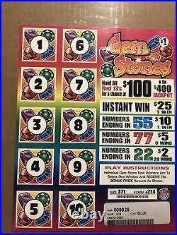 All Instant Profit $455 Pull Tabs Ticket $1 Window Pick Windows Gem Stones
