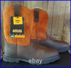 Ariat Mens 10 Groundbreaker Steel Toe Work Boots Size 8.5 Brown Ember 10015191