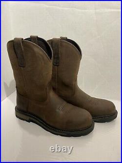 Ariat Mens 10 Steel Toe Groundbreaker Work Boots Brown Size 9D 10014241
