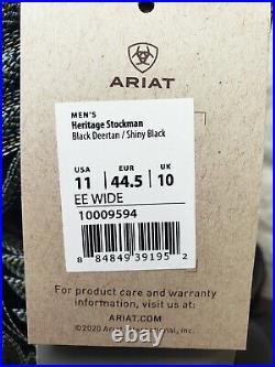 Ariat Mens Heritage Stockman Western Work Boots Size 11 EE 10009594 $179 Black
