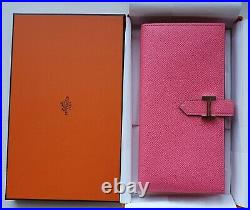 Authentic Hermes Bearn wallet with gusset in Rose Azalee epsom leather silver