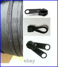 BLACK YKK #10 Coil Zipper Tape, Sliders, Pull Tabs, with Plenty of Choices