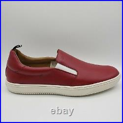 Bally ORNIEL Men's Red Leather Slip On Shoe withWhite Elastic and Web Pull Tab