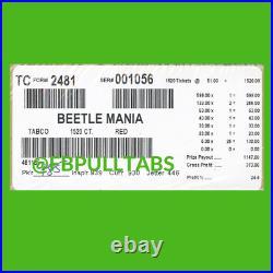 Beetle Mania 1520 Pull Tabs, $1 Each $373 Profit Fundraiser Free Ship
