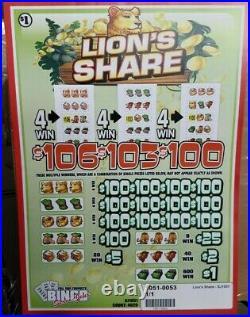 Big $1040 Profit! Free Shipping Ups Lion's Share Pull Tab Tickets