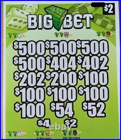 Big Bet' Pull Tab Tickets $1494 Profit 2952 Tickets Free Ship