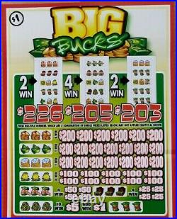 Big Bucks, 5 Window Pulltab Tickets, 8040 Count @ $1 & Huge $2040 Profit