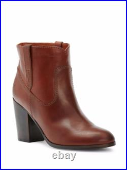 Brand New $328 Frye Myra Redwood Leather Bootie -mid Heel Double Pull Tab At Si