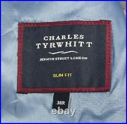 Charles Tyrwhitt Mens Check Slim Fit Twist Business Suit Jacket FR7 Gray Size 38