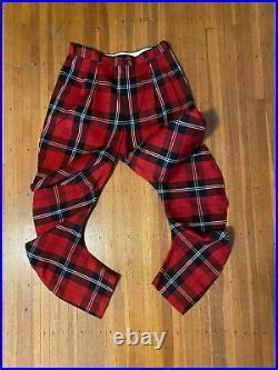 Comme des Garcons CDG Red Tartan Plaid Twist Pants Trousers L Rare Fall 2010