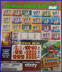 Country Roads Instant 2250 Pull Tabs $1 $580 Profit