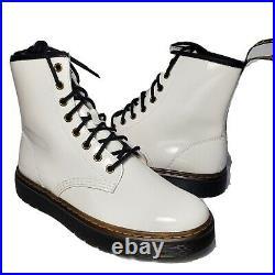 Dr. Martens 1460 Women Boots Zavala 8 Eye white smooth patent Leather sz 9 41