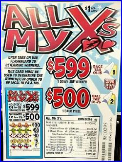 EXPRESS 2-DAY SHIP! ALL MY X's, SEAL CARD GAME PULL TAB TICKETS $566 PROFIT