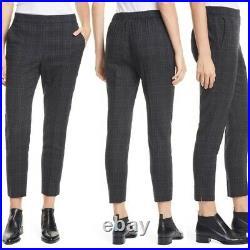 Eileen Fisher Drape Wool Plaid Sim Charcoal Pull On Pants Sz Small Retails $248