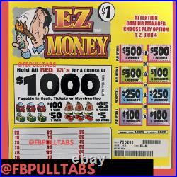 Ez Money $1 Pull Tab Game 1925 Ticket Ct Instant Winners $1000 Seal $525 Profit
