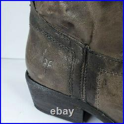 FRYE Carson Tab Tall Leather Pull On Boots Sport Charcoal Color Womens 7 B 77207