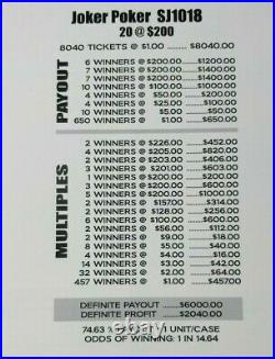 Free Shipping Big $2040 Profit! Joker Poker Pull Tab Tickets 8040 @ $1