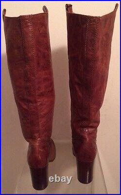 Frye Carson MID High Heel Tab Cognac Brown Pull On Leather Riding Boot Sz 9 New