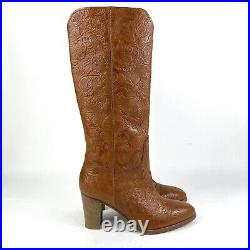 Frye June Floral Saddle Tall Boots Size 6 Brown Pull On Made In Italy