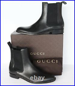 GUCCI MENS ANKLE BOOTS BLACK LEATHER ELASTIC GORES PULL TAB $895 sz 14.5 / US 15