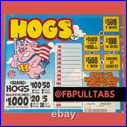 Grand Hogs 1900 Pull Tabs, $1 Each $400 Profit Fundraiser Free Shipping
