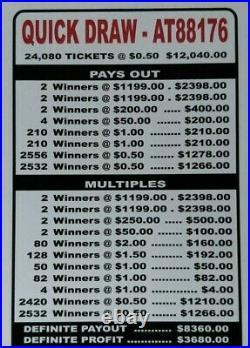 HUGE $3680 PROFIT QUICK DRAW. 50c PULL TAB TICKETS, $1199 FREE SHIPPING