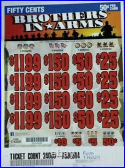 HUGE $3728 PROFIT BROTHERS IN ARMS. 50c PULL TAB TICKETS