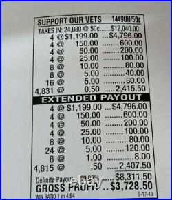 HUGE $3728 PROFIT SUPPORT OUR VETS. 50c PULL TAB TICKETS, FREE SHIPPING