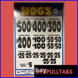 Hogs 3220 Pull Tabs, $1 Each $720 Profit Fundraiser Free Shipping