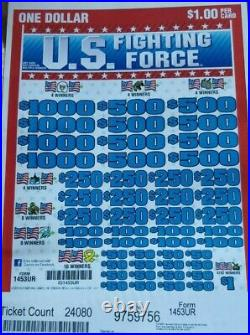 Huge $7228 PROFIT U. S. FIGHTING FORCE EXPRESS 2-DAY SHIP PULL TAB TICKETS