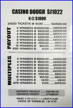 Huge $7328 PROFIT CASINO DOUGH EXPRESS SHIP PULL TAB TICKETS, 24120 COUNT