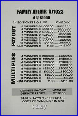 Huge $7328 PROFIT FAMILY AFFAIR EXPRESS 2-DAY SHIPPING $1 PULL TAB TICKETS