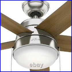 Hunter Ceiling Fan 36 Inch LED Light Indoor Pull Chain 5 Blade Brushed Nickel
