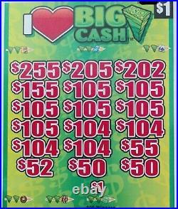 I Love Big Cash' Pull Tab Tickets $798 Profit 3168 Tickets Free Shipping