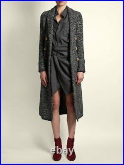 ISABEL MARANT Etoile Prince of Wales Check NOLA Twist Faux Wrap Shirt-Dress 40 8