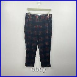 J. Crew Women's Pull-On Easy Pant Velvet Stewart Black Plaid Size 10 NWT