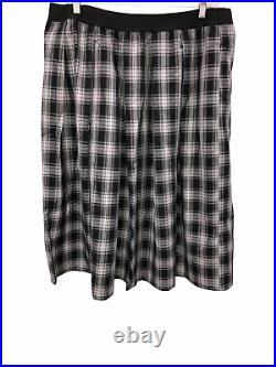 Joan Rivers Regular Pull-On Tartan Plaid Midi Skirt Black/White 1X Plus Size