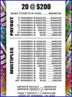 Joker Poker 5 Window Pull Tab Tickets, 8040 Count @ $1! Huge $2040 Profit