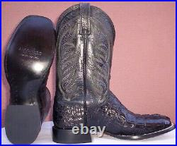 Lucchese, Black Horn Back Caiman Tail Cowboy Boots, Style# M2700, Size (10.5 D)